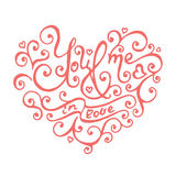 Isolated hand lettering hearts for Valentines day. Stock Photography