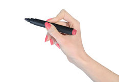 Isolated hand with marker Royalty Free Stock Photos