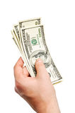 Isolated hand with money Royalty Free Stock Photos
