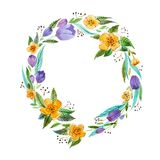 Isolated hand painted watercolor floral coronet made of delicate flowers and foliage.  Stock Photo