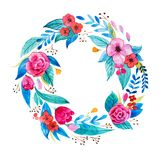 Isolated hand painted watercolor floral coronet made of delicate flowers and foliage.  Royalty Free Stock Photo