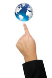 Isolated hand point to the world Royalty Free Stock Photography