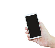 Isolated hand presenting or show white smartphone on white backg. Round, Closeup isolated hand take big blank screen mobile or cellphone Royalty Free Stock Photo
