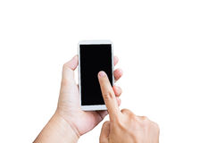 Isolated hand press on big blank black screen of mobile phone on white background Stock Photography
