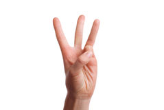 Isolated hand shows the number three Stock Images