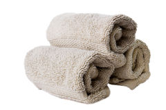 Isolated hand towels. Studio shot of three isolated hand towels Stock Photography