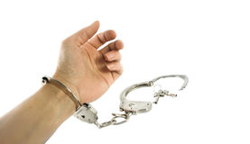 Isolated handcuffs Royalty Free Stock Photography