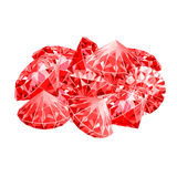 Isolated handful of red rubies. Game desing. Royalty Free Stock Photo