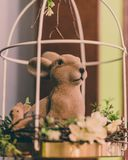 Isolated Handmade Easter Decorations & x28;Bunny with Blossom Flowers in Cage& x29; - Concept of the Harmony and Peace in Family royalty free stock photos