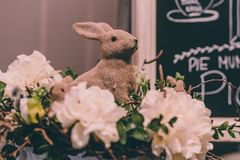 Isolated Handmade Easter Decorations (Bunny with Blossom Flowers) - Concept of the Harmony and Peace in Family royalty free stock photo