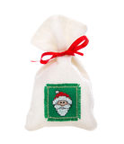 Isolated handmade nicholas or santa claus sac for a christmas pr Royalty Free Stock Photography