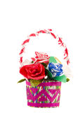 Isolated handmade paper flowers basket Royalty Free Stock Photo