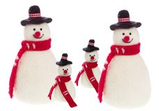 Isolated handmade snowman with felt with a red scarf Stock Photos
