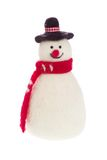 Isolated handmade snowman with felt with a red scarf Royalty Free Stock Images