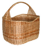 Isolated handmade wicker basket 1. Handmade wicker basket manually mastered of light brown rods Royalty Free Stock Images