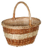 Isolated handmade wicker basket 2. Handmade wicker basket manually mastered of light brown rods Stock Photography