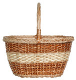 Isolated handmade wicker basket 2. Handmade wicker basket manually mastered of light brown rods Royalty Free Stock Photo