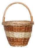 Isolated handmade wicker basket 3. Handmade wicker basket manually mastered of light brown rods Stock Photos