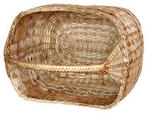 Isolated handmade wicker basket 4. Handmade wicker basket manually mastered of light brown rods Royalty Free Stock Photography