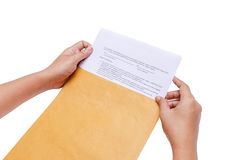 ISolated Hands Are Holding The Envelope Stock Image