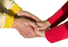 Isolated hands of grandmother and grandchild Royalty Free Stock Photos