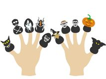 Hands with Halloween puppets Royalty Free Stock Image