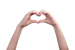 Isolated hands in heart form Royalty Free Stock Image