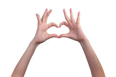 Isolated hands in heart form Royalty Free Stock Images