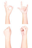 Isolated hands post. Grip and symbols Royalty Free Stock Images