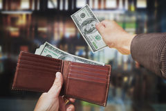 Isolated of hands taking out cash Stock Photo