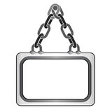 Isolated hanged chain board text template  Stock Photo