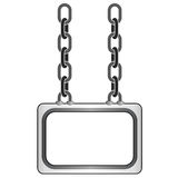 Isolated hanged metallic chain board  template Stock Photos