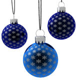 Isolated Hanging Blue Christmas Ornaments Stock Photo