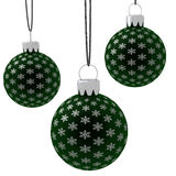 Isolated Hanging Green Christmas Ornaments Stock Photos