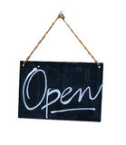 Isolated Hanging Open Sign Stock Images