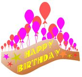 Isolated Happy birthday label with balloons Stock Images