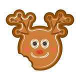 Happy bitten reindeer gingerbread. Isolated happy bitten reindeer gingerbread. Vector illustration design royalty free illustration