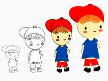 Isolated happy boy wear red cap and blue shirt with white background,vecrtor stock illustration
