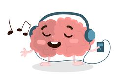 Brain listening to music. Isolated happy brain with headphones listening to music vector illustration