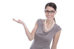 Isolated happy business woman is presenting with her hands. Royalty Free Stock Photography