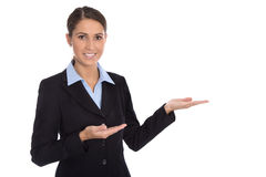Isolated happy businesswoman presenting and showing over white b Stock Photography