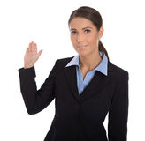 Isolated happy businesswoman presenting and showing over white b. Isolated attractive and happy businesswoman presenting and showing over white background Stock Image
