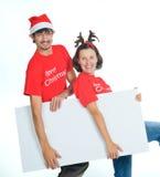 Isolated happy christmas couple Stock Photo