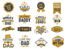 Isolated Happy fathers day quotes on the white background. Dad congratulation gold and black label, badge vector Stock Photo
