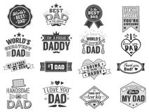 Isolated Happy fathers day quotes on the white background. Dad congratulation label, badge vector collection. Mustache. Hat, stars elements for your design Stock Photography
