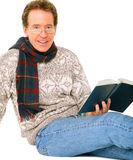 Isolated Happy Senior Man Sit And Reading Book Stock Photos