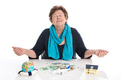 Isolated happy senior woman or pensioner - money concept for tra Stock Images