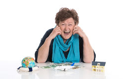 Isolated happy senior woman or pensioner - money concept for tra Royalty Free Stock Photo