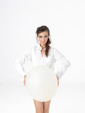 Isolated happy woman posing with white balloon Royalty Free Stock Photo