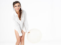 Isolated happy woman posing with white balloon stock images